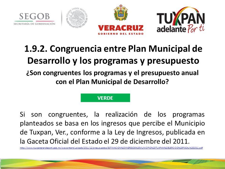 1.9.2. Congruencia entre Plan Municipal de Desarrollo y los programas y presupuesto