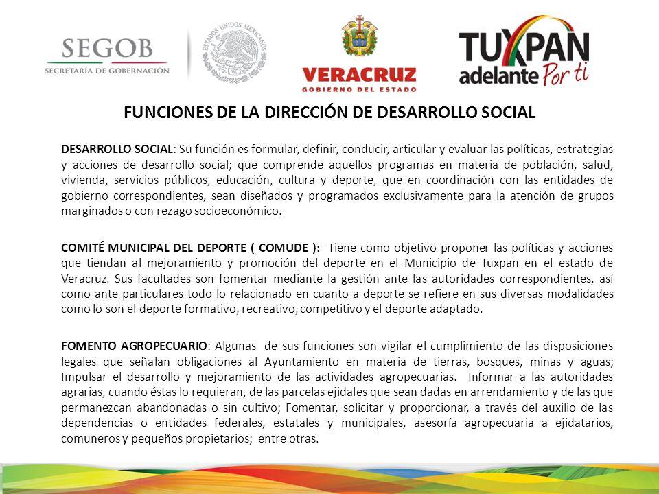 FUNCIONES DE LA DIRECCIÓN DE DESARROLLO SOCIAL