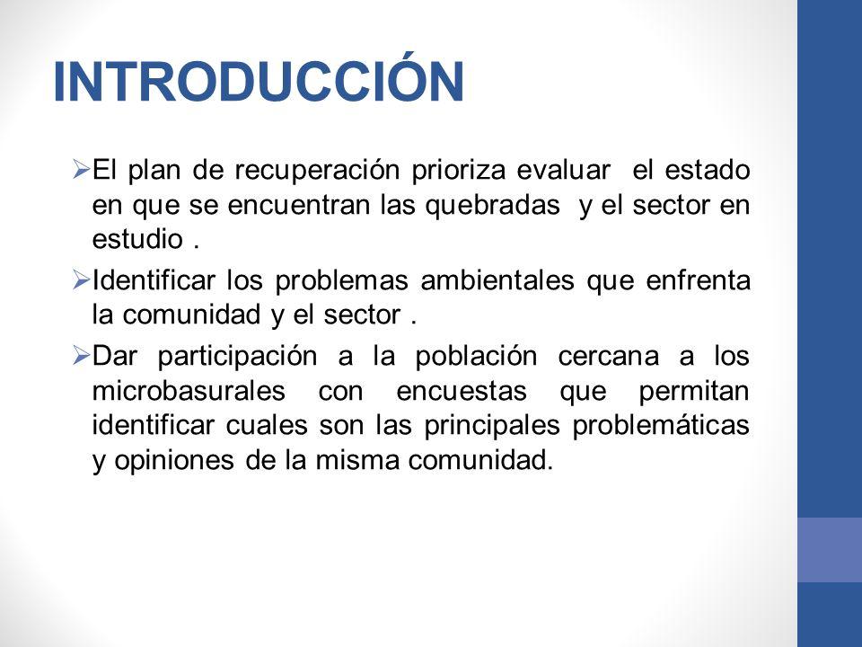 INTRODUCCIÓN El plan de recuperación prioriza evaluar el estado en que se encuentran las quebradas y el sector en estudio .