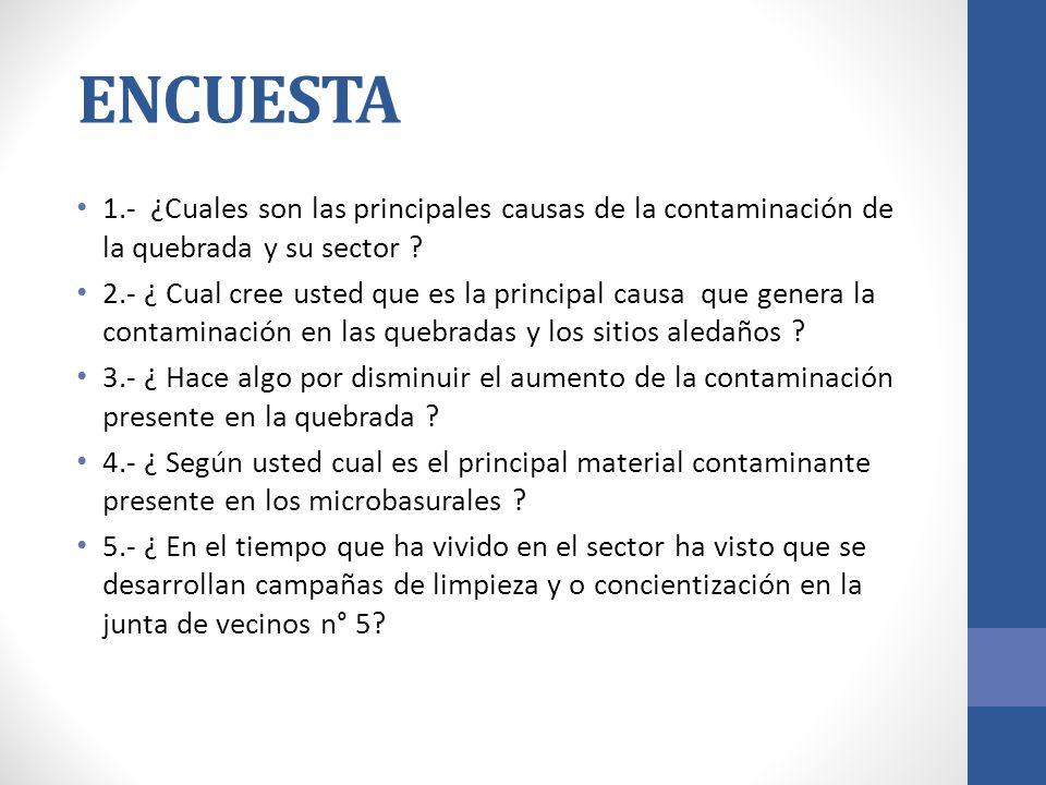 ENCUESTA 1.- ¿Cuales son las principales causas de la contaminación de la quebrada y su sector