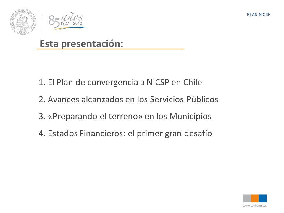 Esta presentación: 1. El Plan de convergencia a NICSP en Chile