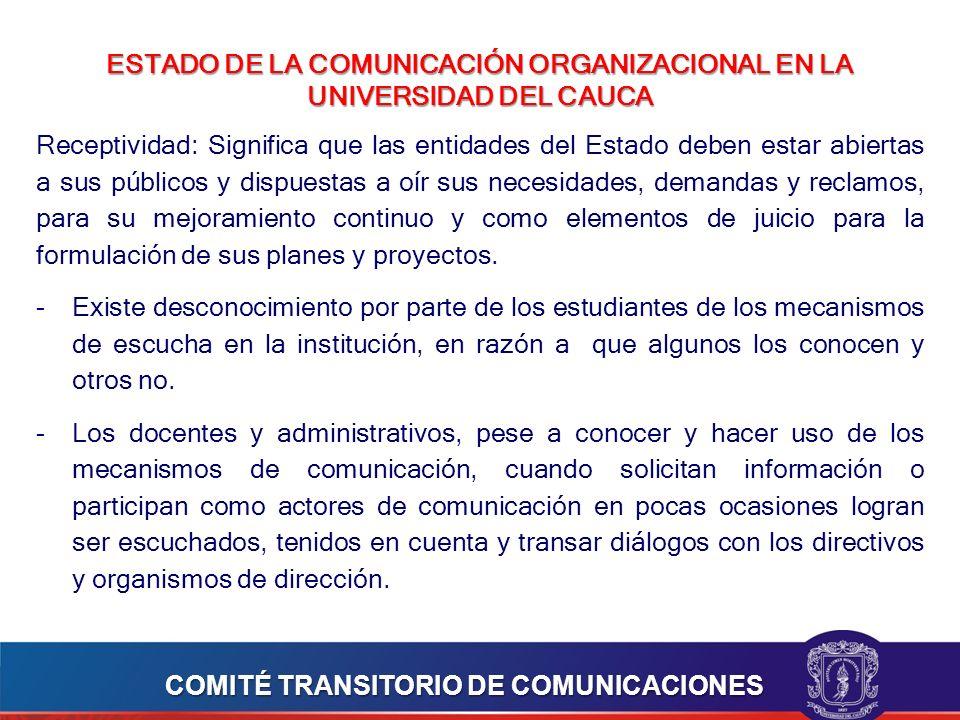 ESTADO DE LA COMUNICACIÓN ORGANIZACIONAL EN LA UNIVERSIDAD DEL CAUCA