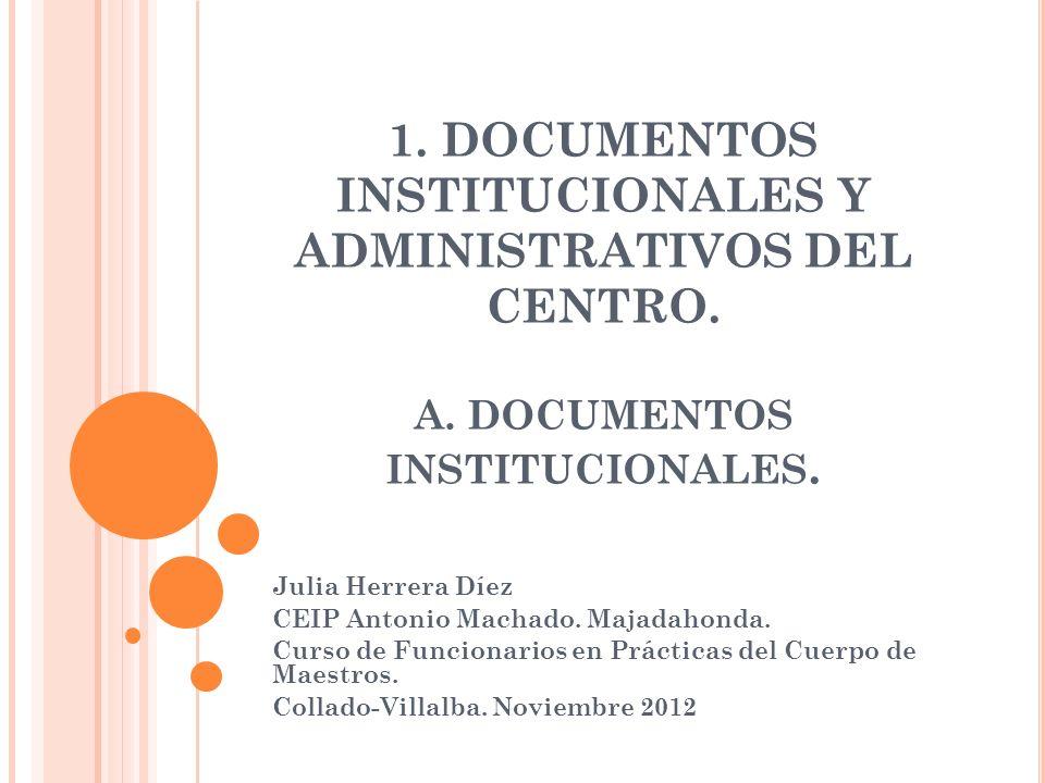 1. DOCUMENTOS INSTITUCIONALES Y ADMINISTRATIVOS DEL CENTRO. A