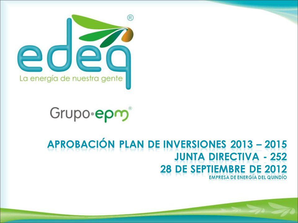 Aprobación plan de inversiones 2013 – 2015 junta directiva - 252 28 De septiembre De 2012 Empresa de energía del Quindío