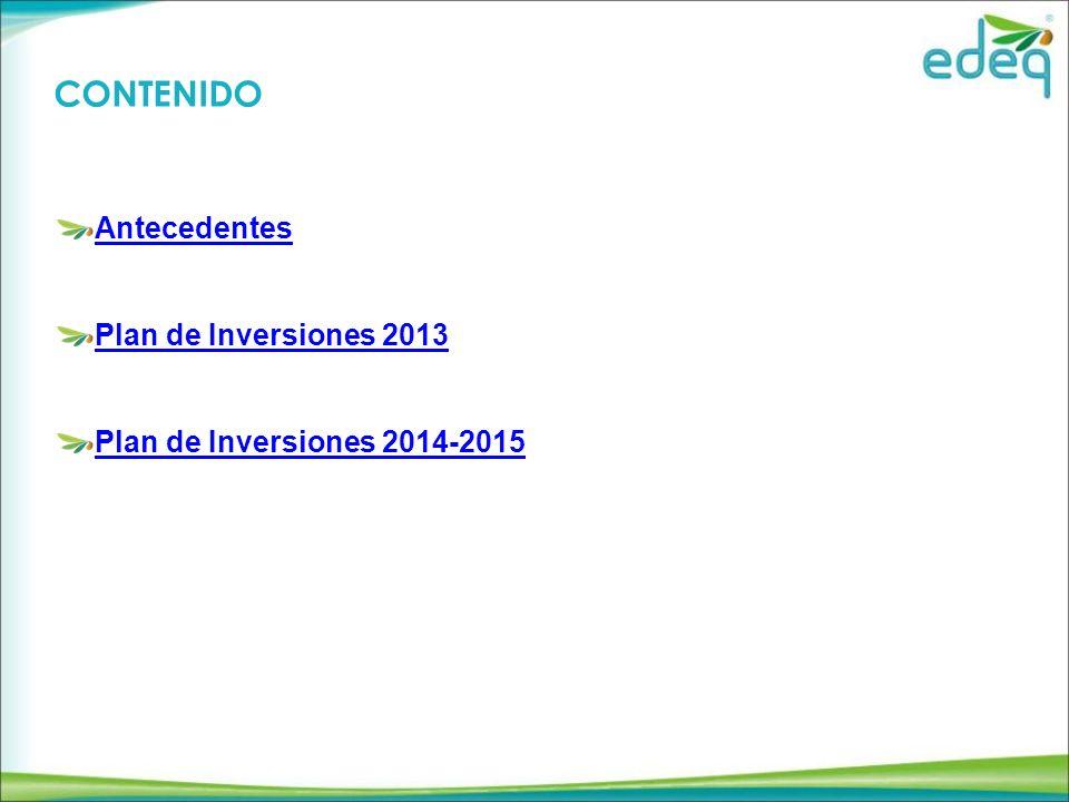 CONTENIDO Antecedentes Plan de Inversiones 2013