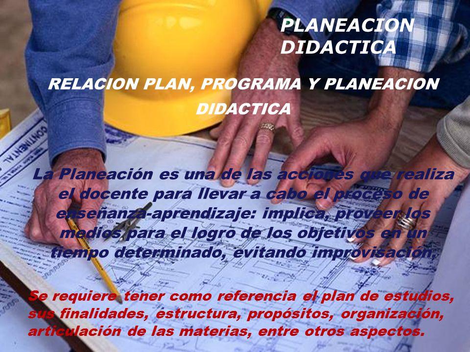 RELACION PLAN, PROGRAMA Y PLANEACION DIDACTICA