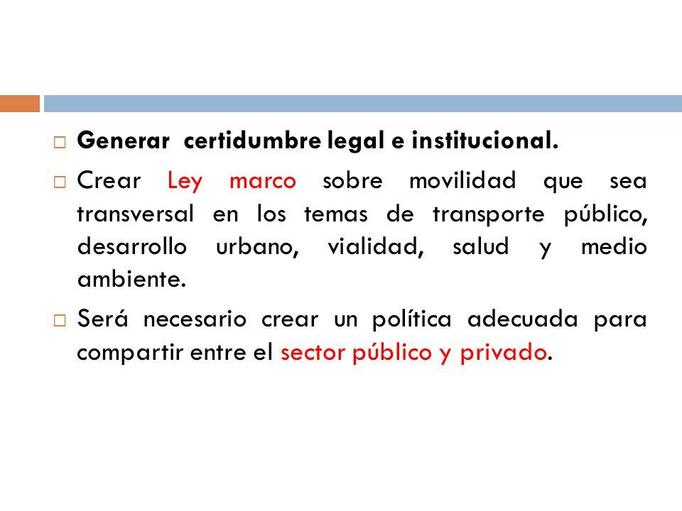 Generar certidumbre legal e institucional.