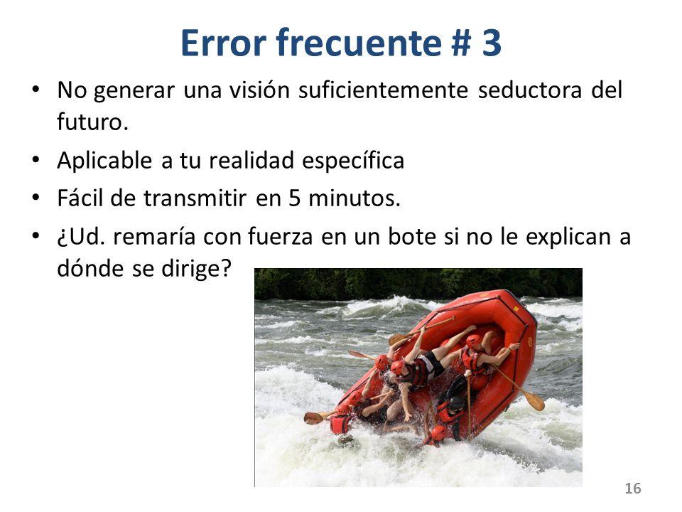 Error frecuente # 3 No generar una visión suficientemente seductora del futuro. Aplicable a tu realidad específica.