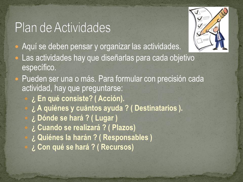 Plan de Actividades Aquí se deben pensar y organizar las actividades.
