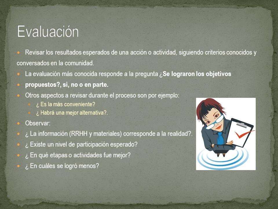 Evaluación Revisar los resultados esperados de una acción o actividad, siguiendo criterios conocidos y.