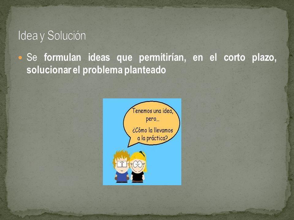 Idea y Solución Se formulan ideas que permitirían, en el corto plazo, solucionar el problema planteado.