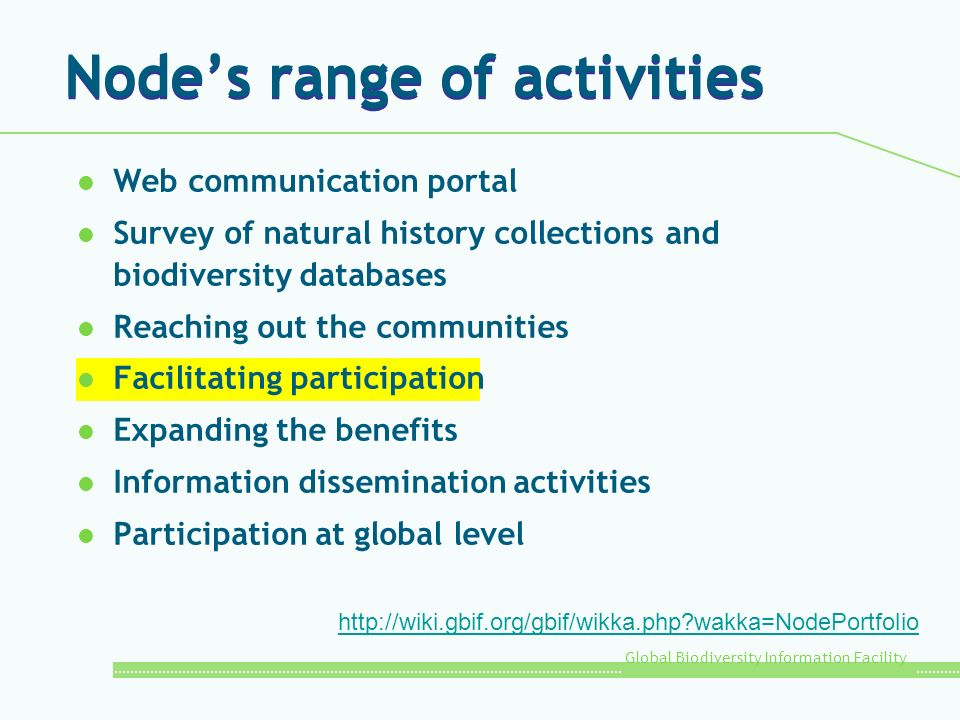 Node's range of activities