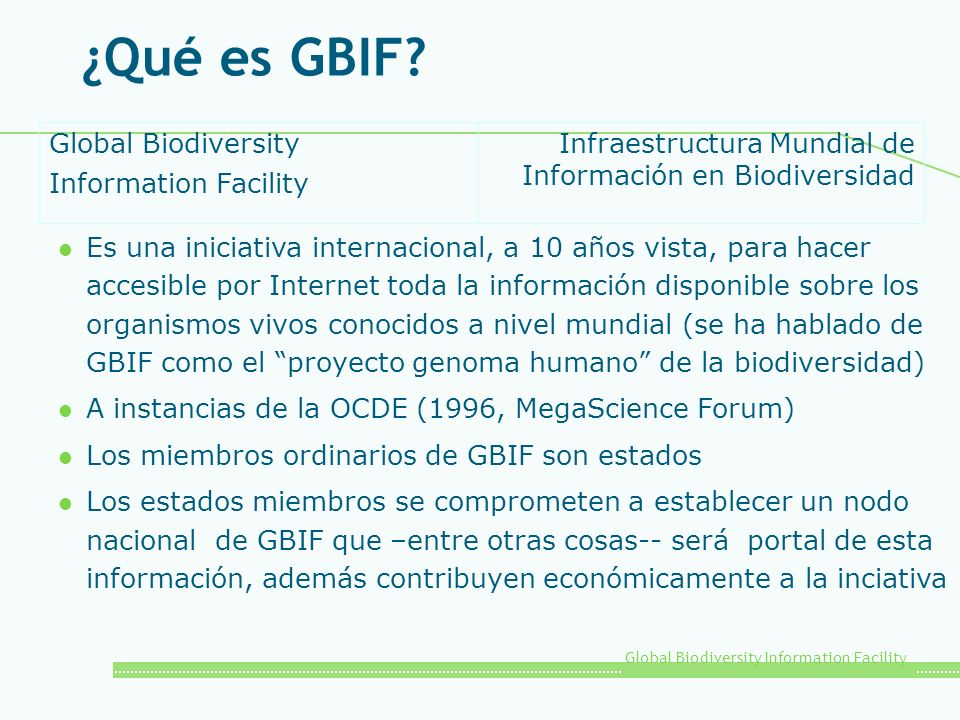 ¿Qué es GBIF Global Biodiversity Information Facility