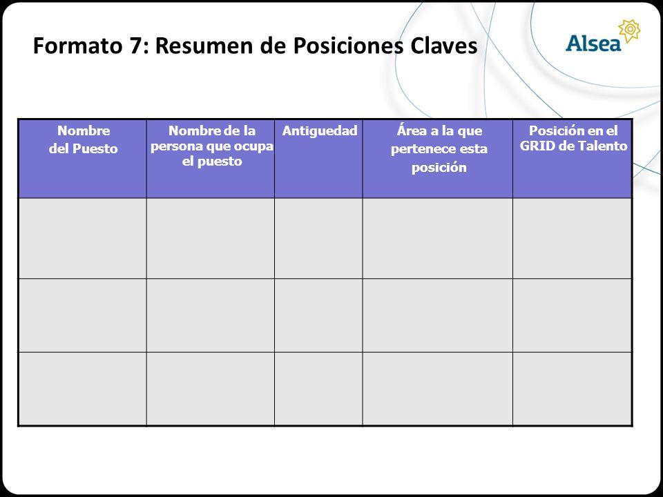 Formato 7: Resumen de Posiciones Claves