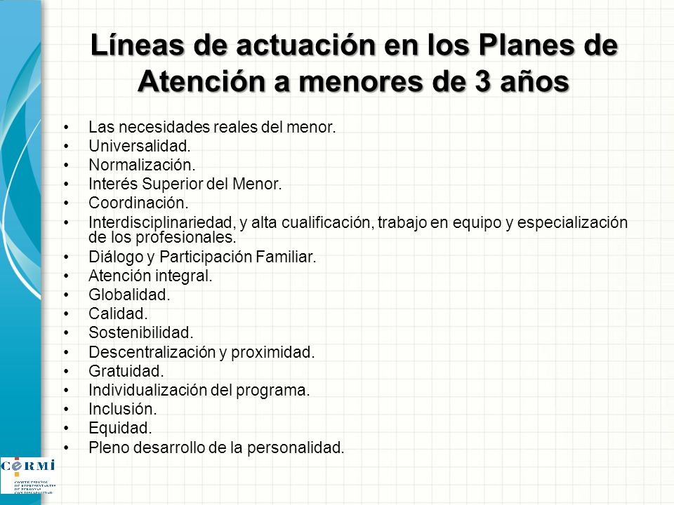 Líneas de actuación en los Planes de Atención a menores de 3 años