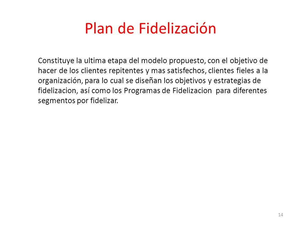 Plan de Fidelización