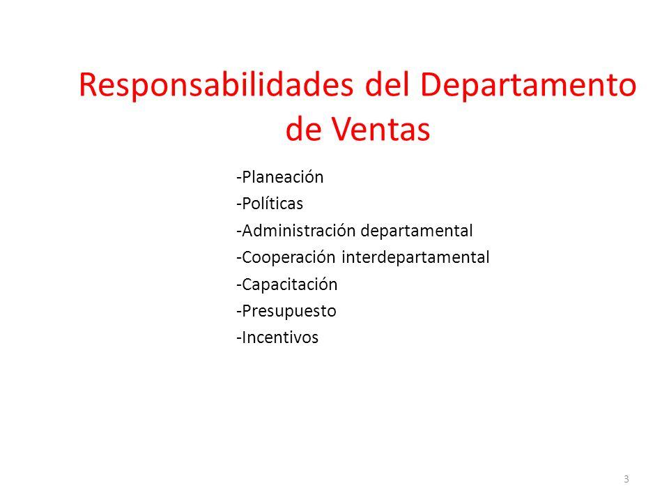 Responsabilidades del Departamento de Ventas