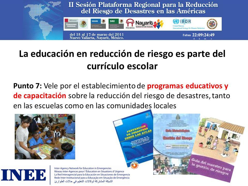 La educación en reducción de riesgo es parte del currículo escolar