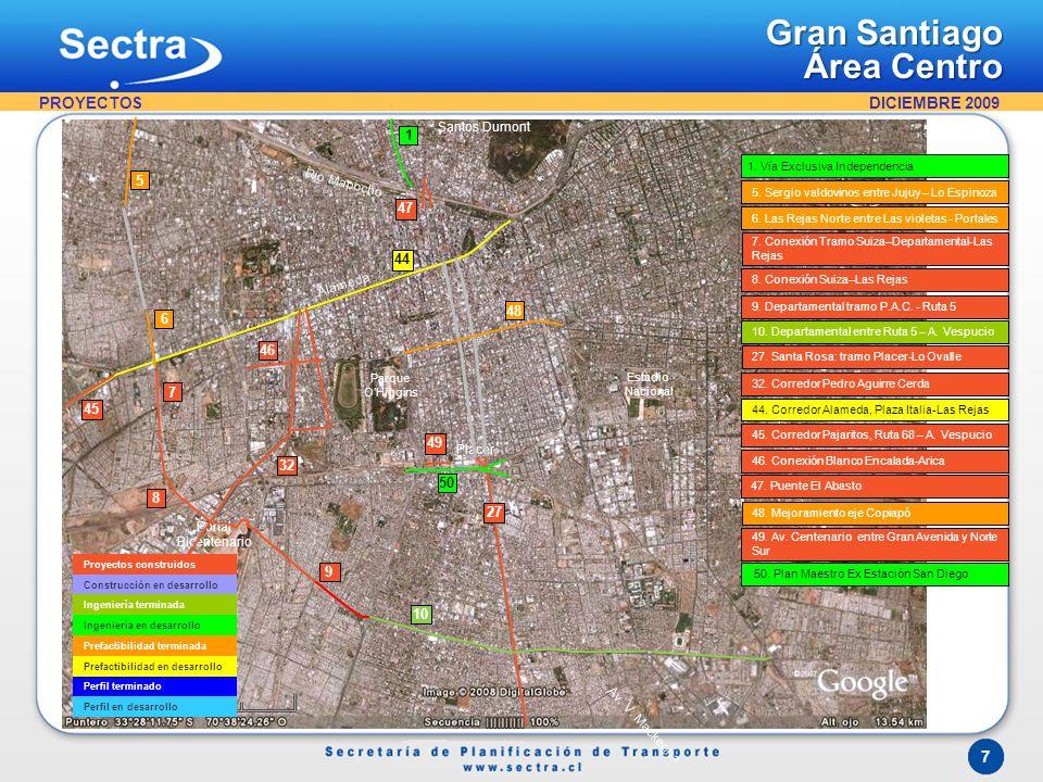 Gran Santiago Área Poniente PROYECTOS 5 51 52 44 6 53 46 45 7 54 55 8