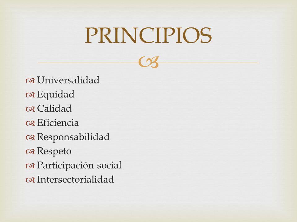 PRINCIPIOS Universalidad Equidad Calidad Eficiencia Responsabilidad