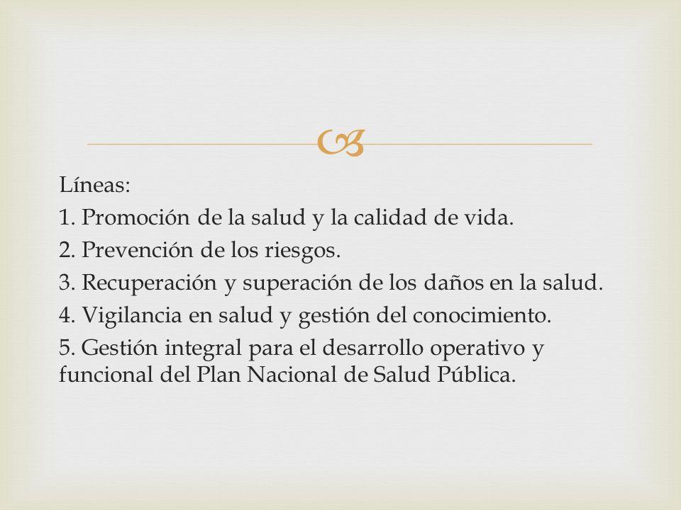 Líneas: 1. Promoción de la salud y la calidad de vida. 2