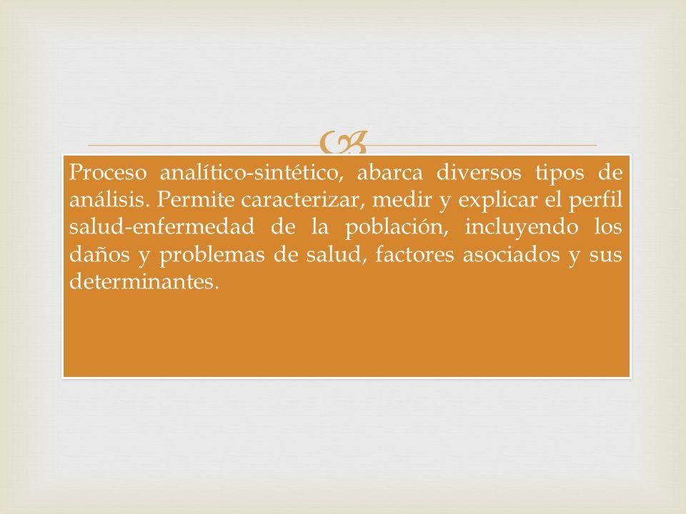 Proceso analítico-sintético, abarca diversos tipos de análisis