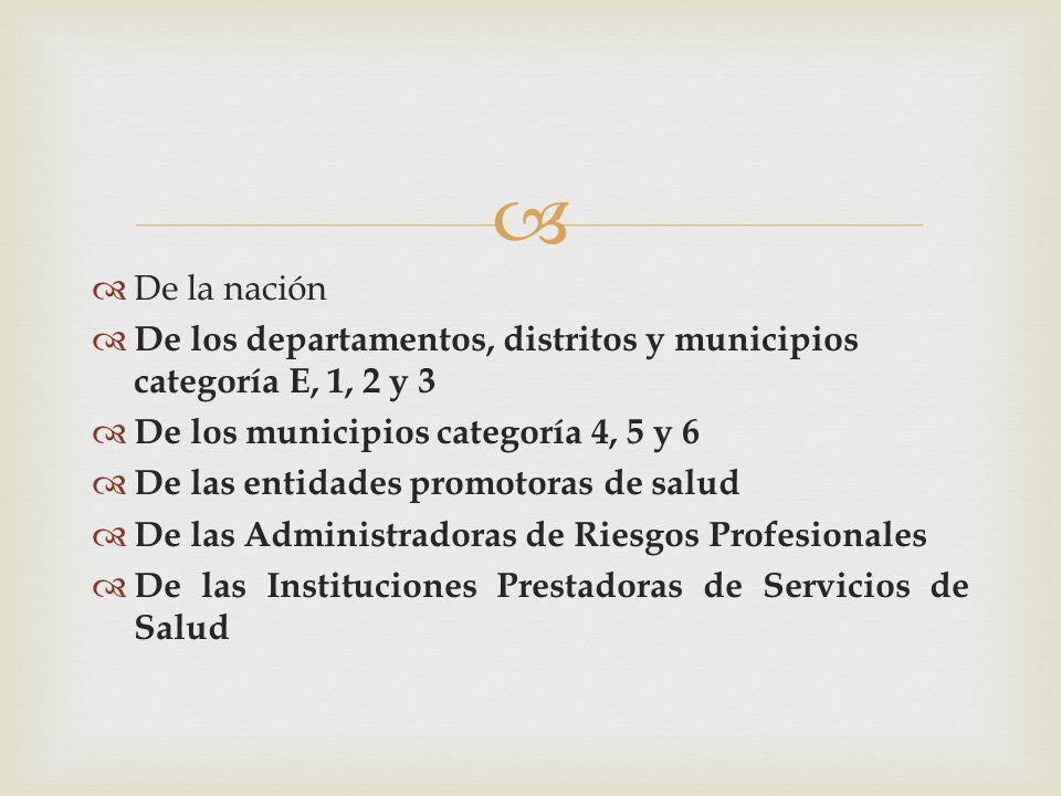 De la nación De los departamentos, distritos y municipios categoría E, 1, 2 y 3. De los municipios categoría 4, 5 y 6.
