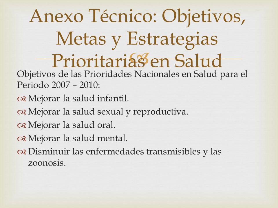 Anexo Técnico: Objetivos, Metas y Estrategias Prioritarias en Salud