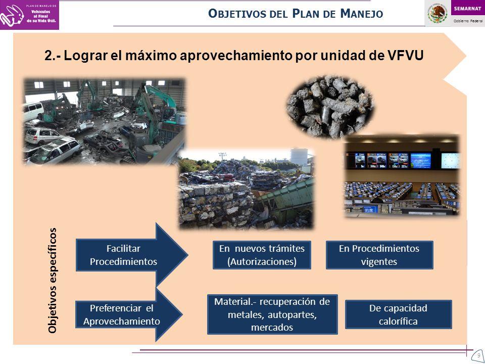 2.- Lograr el máximo aprovechamiento por unidad de VFVU