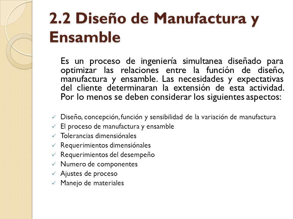 2.2 Diseño de Manufactura y Ensamble