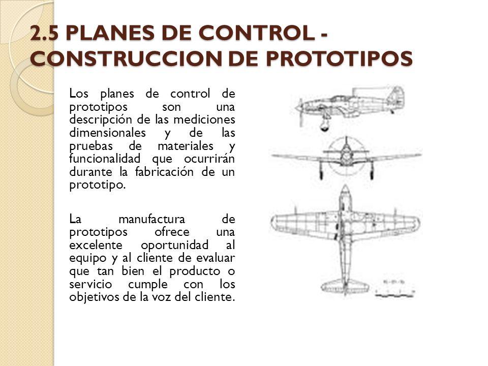 2.5 PLANES DE CONTROL - CONSTRUCCION DE PROTOTIPOS