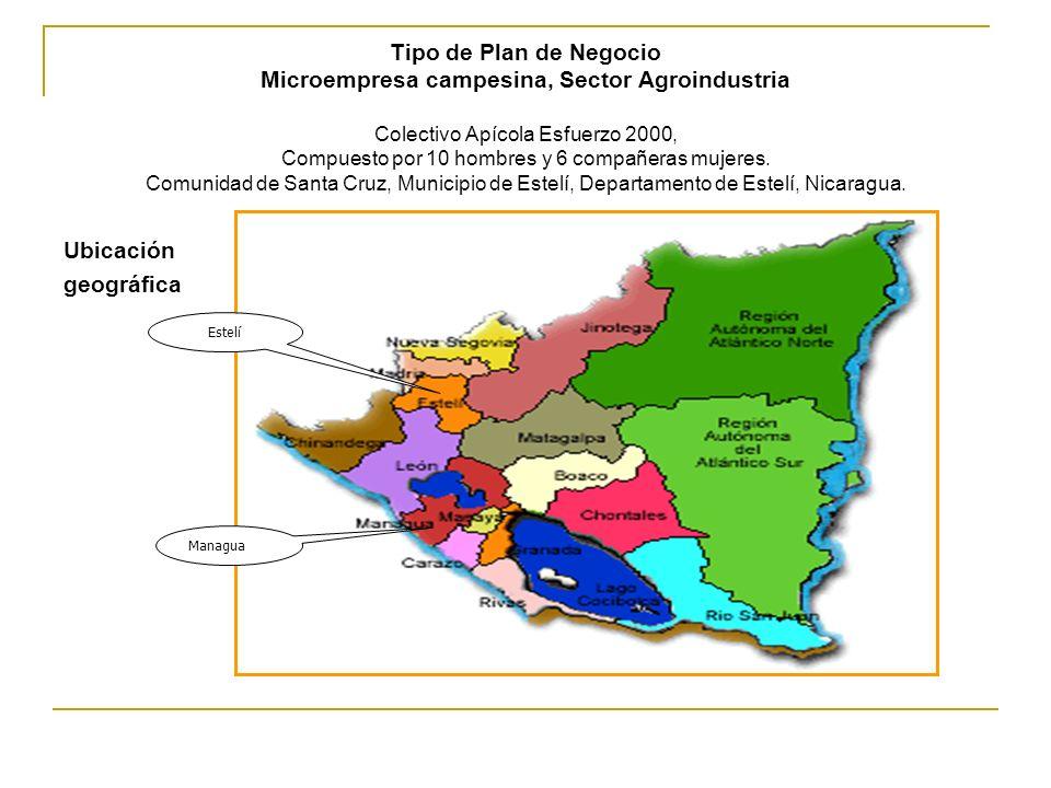 Tipo de Plan de Negocio Microempresa campesina, Sector Agroindustria Colectivo Apícola Esfuerzo 2000, Compuesto por 10 hombres y 6 compañeras mujeres. Comunidad de Santa Cruz, Municipio de Estelí, Departamento de Estelí, Nicaragua.