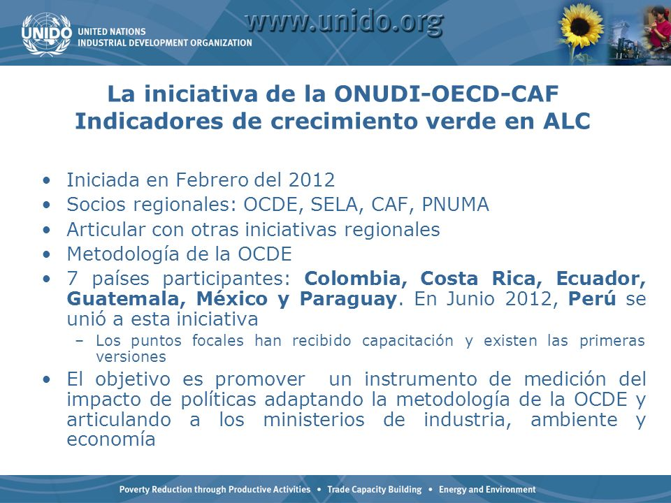 La iniciativa de la ONUDI-OECD-CAF Indicadores de crecimiento verde en ALC