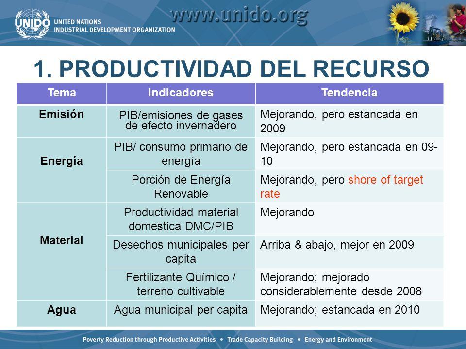 1. PRODUCTIVIDAD DEL RECURSO
