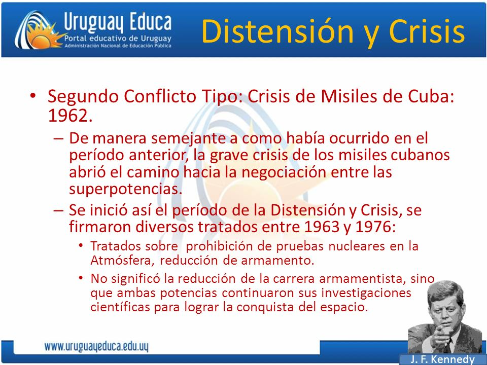 Distensión y Crisis Segundo Conflicto Tipo: Crisis de Misiles de Cuba: 1962.
