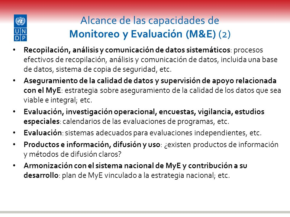 Alcance de las capacidades de Monitoreo y Evaluación (M&E) (2)