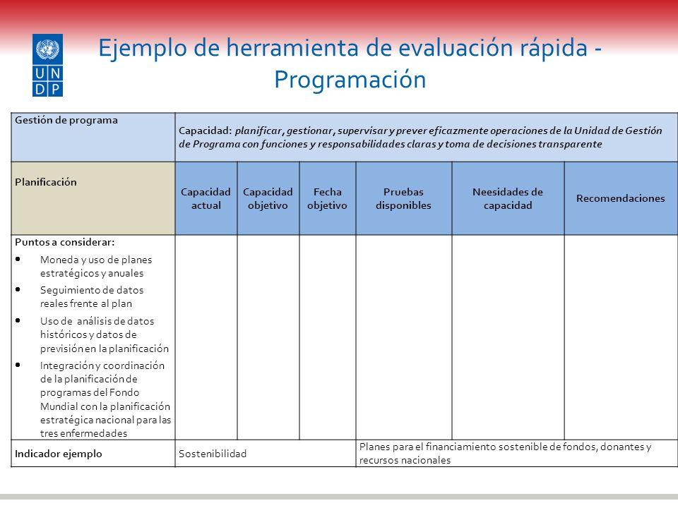 Ejemplo de herramienta de evaluación rápida - Programación