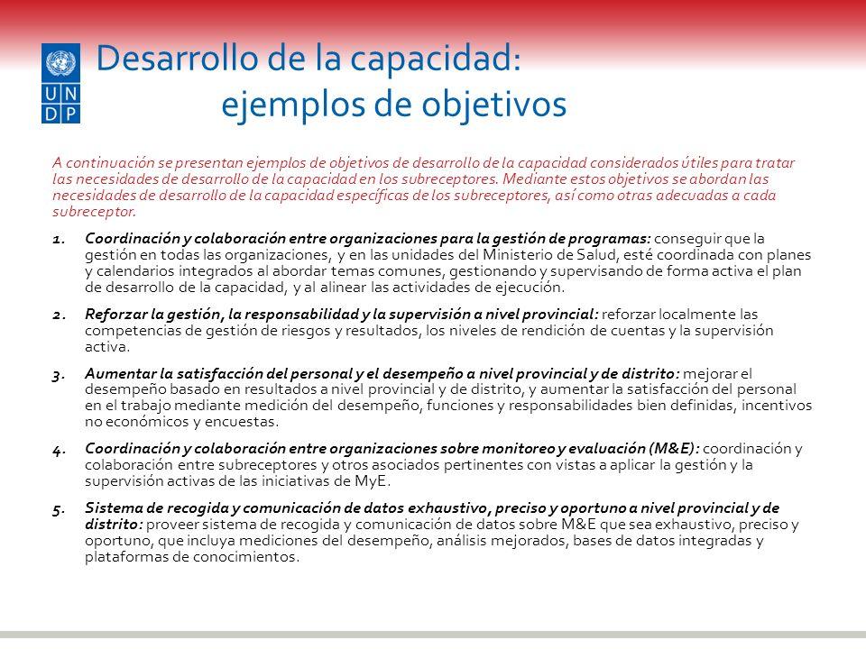 Desarrollo de la capacidad: ejemplos de objetivos