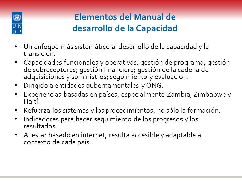 Elementos del Manual de desarrollo de la Capacidad