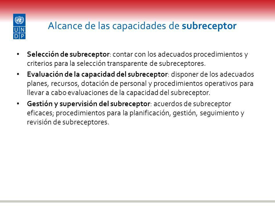 Alcance de las capacidades de subreceptor