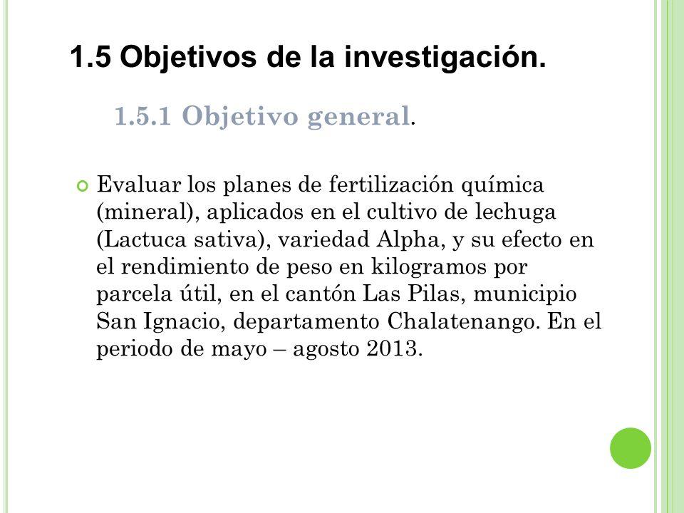 1.5 Objetivos de la investigación.