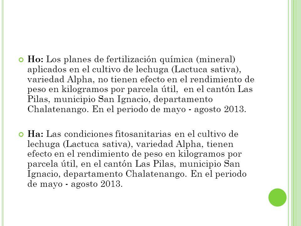Ho: Los planes de fertilización química (mineral) aplicados en el cultivo de lechuga (Lactuca sativa), variedad Alpha, no tienen efecto en el rendimiento de peso en kilogramos por parcela útil, en el cantón Las Pilas, municipio San Ignacio, departamento Chalatenango. En el periodo de mayo - agosto 2013.
