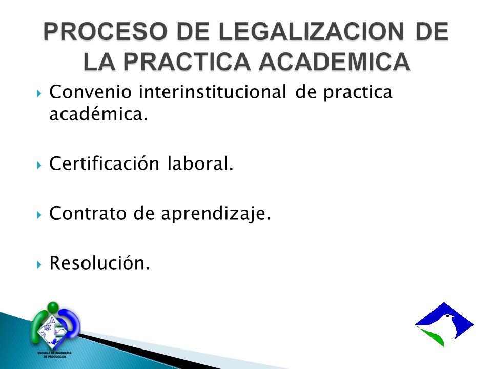 PROCESO DE LEGALIZACION DE LA PRACTICA ACADEMICA