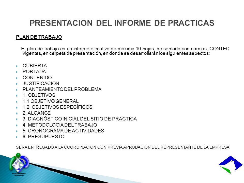 PRESENTACION DEL INFORME DE PRACTICAS