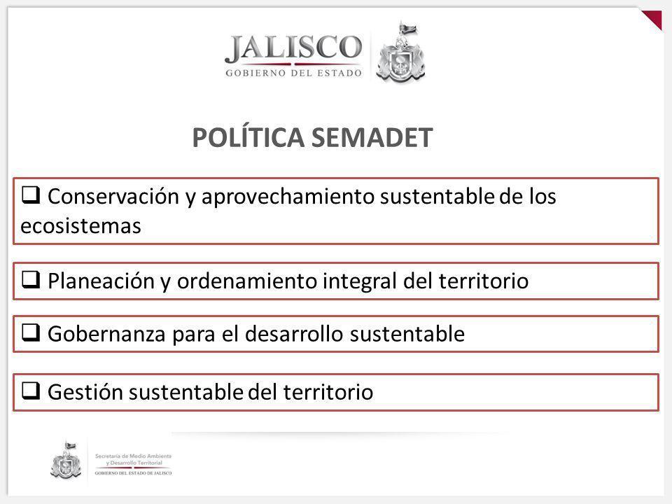 POLÍTICA SEMADET Conservación y aprovechamiento sustentable de los ecosistemasDiapositiva 3. Planeación y ordenamiento integral del territorio.