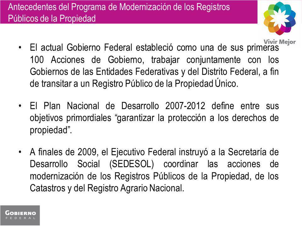 Antecedentes del Programa de Modernización de los Registros Públicos de la Propiedad