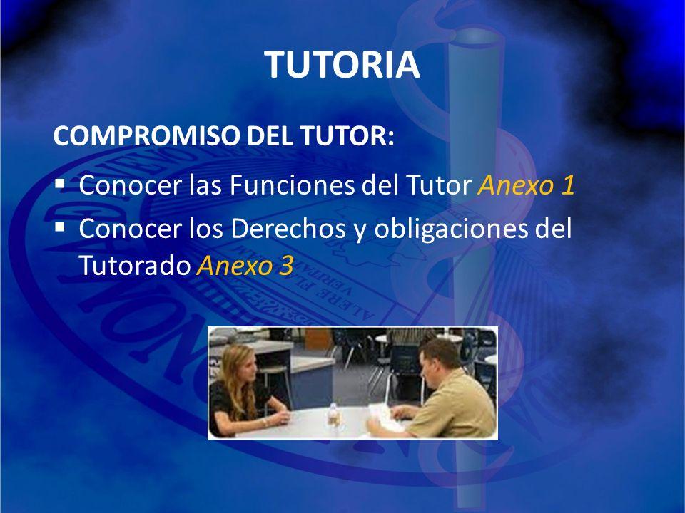 TUTORIA COMPROMISO DEL TUTOR: Conocer las Funciones del Tutor Anexo 1