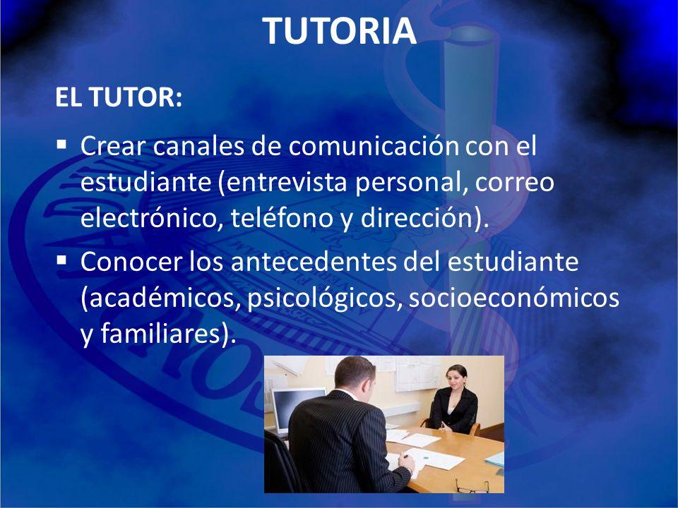 TUTORIA EL TUTOR: Crear canales de comunicación con el estudiante (entrevista personal, correo electrónico, teléfono y dirección).