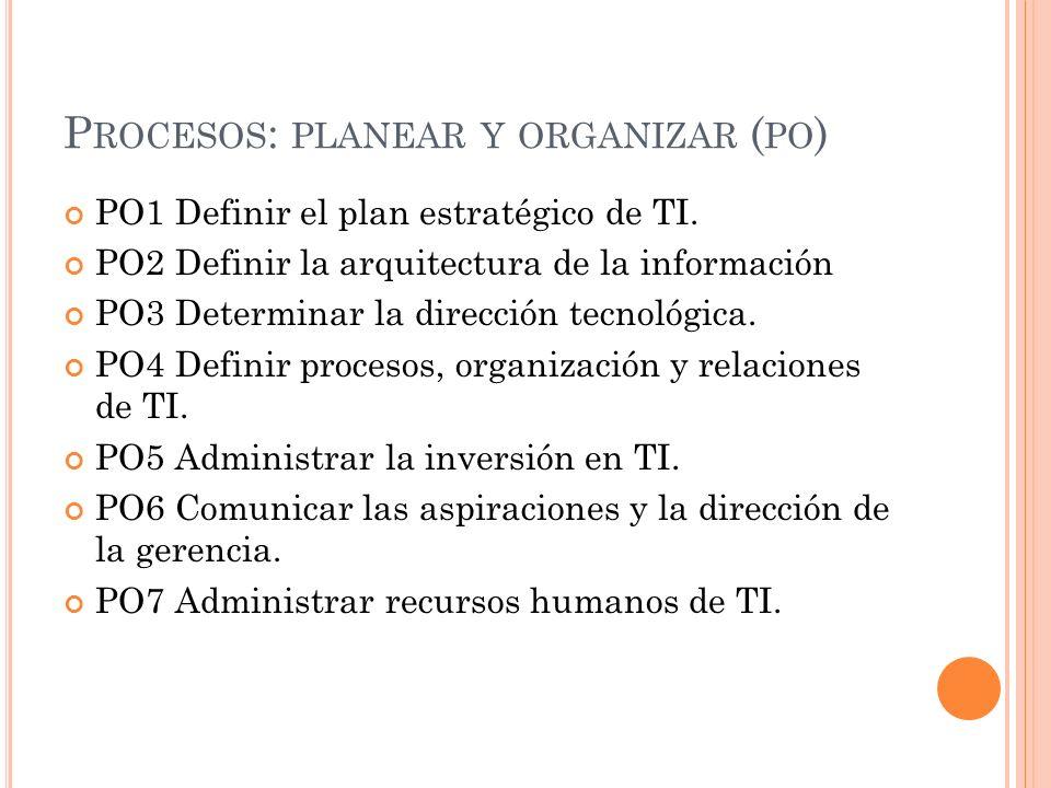 Procesos: planear y organizar (po)