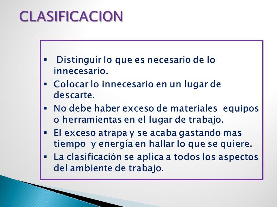 CLASIFICACION Distinguir lo que es necesario de lo innecesario.